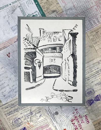 """Варшава №2"" из серии «Варшава» 1980г. Коллаж. Тушь, картон. 50,5х38 см"