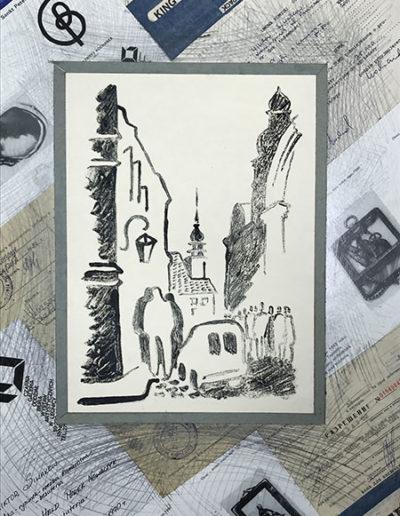 """Варшава №3"" из серии «Варшава» 1980г. Коллаж. Тушь, картон. 50,5х38 см"