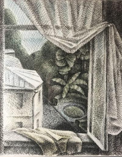 """""""Вид из окна"""" из серии «Хоста» 1990г. Бумага, цветной карандаш, тушь. 48х40 см"""