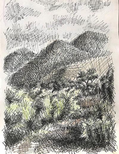 """Абрау Дюрсо. Холмы."" 1983г. Цветной карандаш, тушь. 42,5х30см"