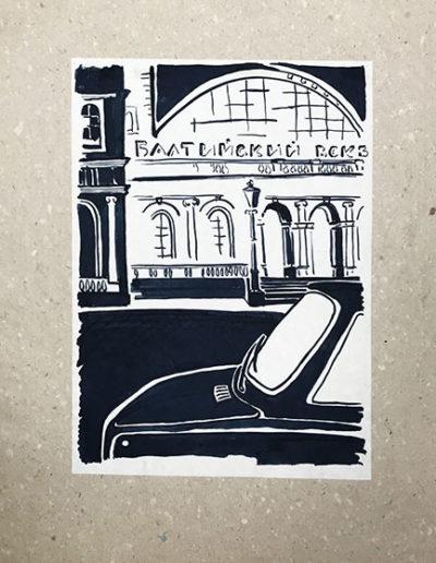 """""""Глазами водителя №1"""" из серии «Наброски тушью» 1984г. Бумага. Кисть, тушь. 20,5х29 см"""