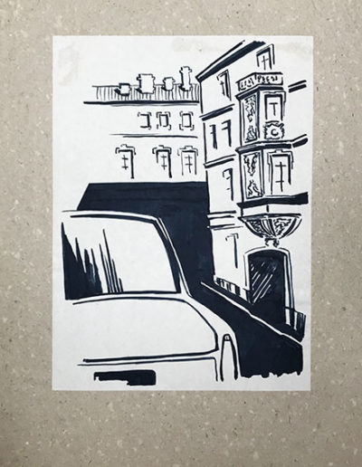 """""""Глазами водителя №3"""" из серии «Наброски тушью» 1984г. Бумага. Кисть, тушь. 20,5х29 см"""