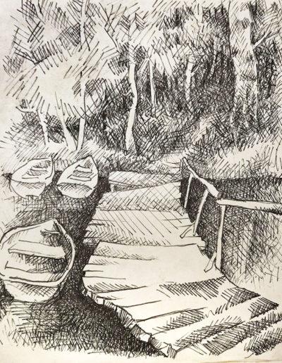 """Лодки"" из серии «Наброски» 1990г. Бумага, ручка. 18х14 см"