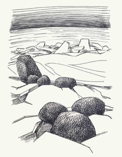 """Камни и лед"" №21 из серии «Наброски» 1990г. Бумага, ручка. 20х14,5 см"