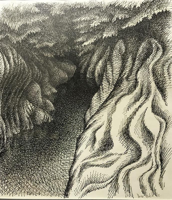 """""""Река в ущелье"""" из серии «Хоста» 1990г. Бумага, цветной карандаш, тушь. 48х40 см"""