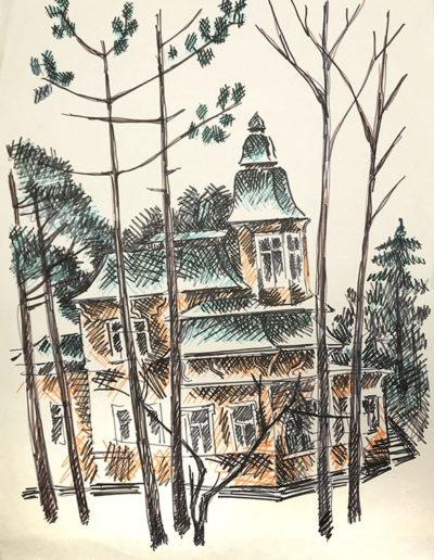 """""""Дачи. Репино"""" из серии «Репино» 1980г. Бумага, цветной фломастер. 43х30,5 см"""