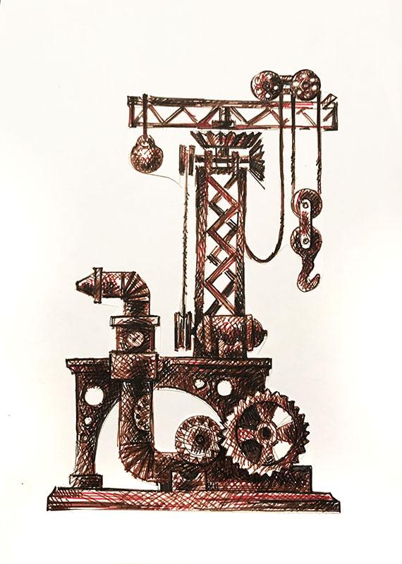 """Техно №1"" из серии «Техно» 1983г. Бумага, цветной фломастер. 29х20 см"