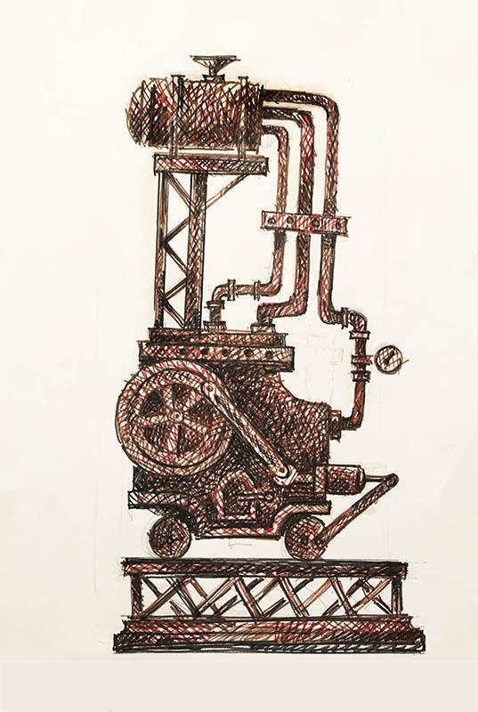 """Техно №2"" из серии «Техно» 1983г. Бумага, цветной фломастер. 29х20 см"