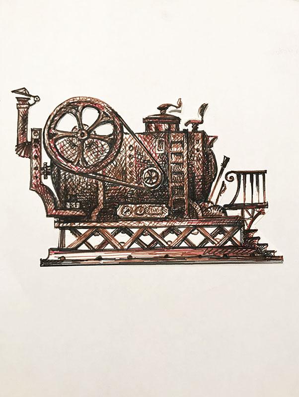 """Техно №3"" из серии «Техно» 1983г. Бумага, цветной фломастер. 29х20 см"
