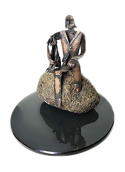 """""""Человек с собакой"""". Стекло, камень, медь. 2006г. 22х22х19см"""