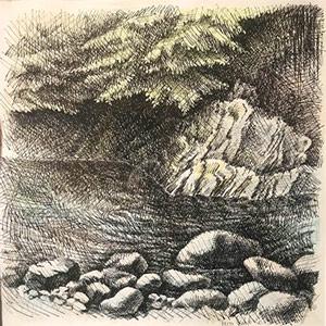 """""""Горная река"""" из серии «Хоста» 1990г. Бумага, цветной карандаш, тушь. 48х40 см"""
