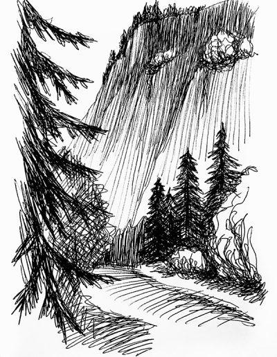 """Набросок. """"Лес в горах №1"""""""